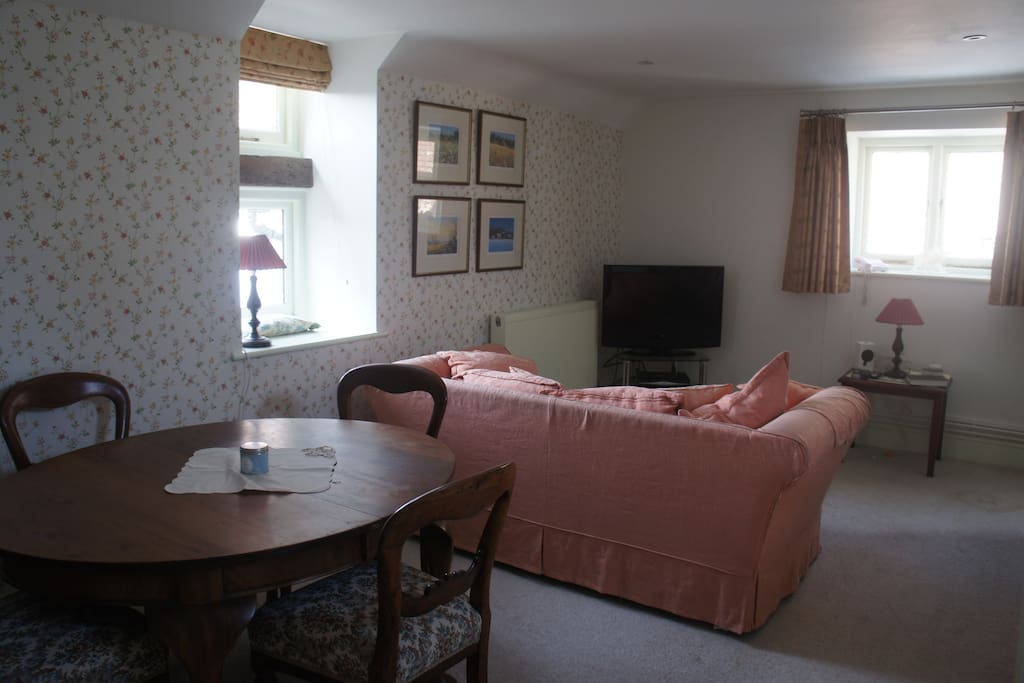 Double sofa bed and upstairs living room