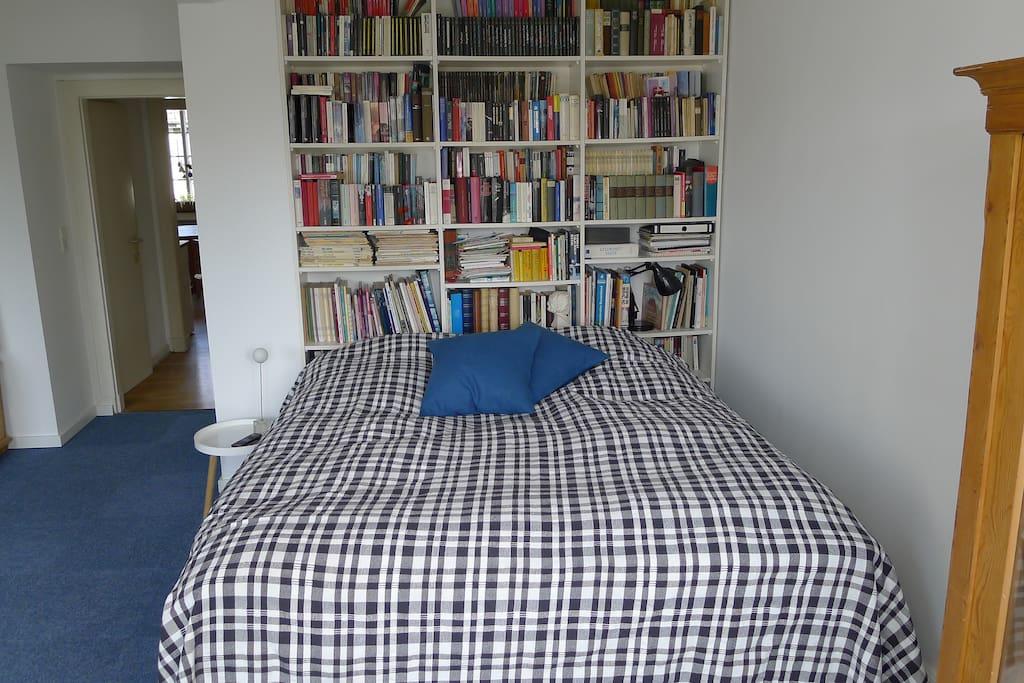 Doppelbett im Wohnzimmer - und ein paar Bücher