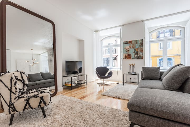 Spacious Modern Living Room with Unique Art & Design
