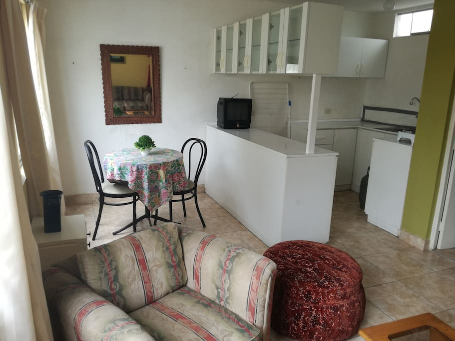 apartment is a bedroom with closet and bathroom with hot water the size of the bed is a square and a half, living room, dining room and kitchen all furnished