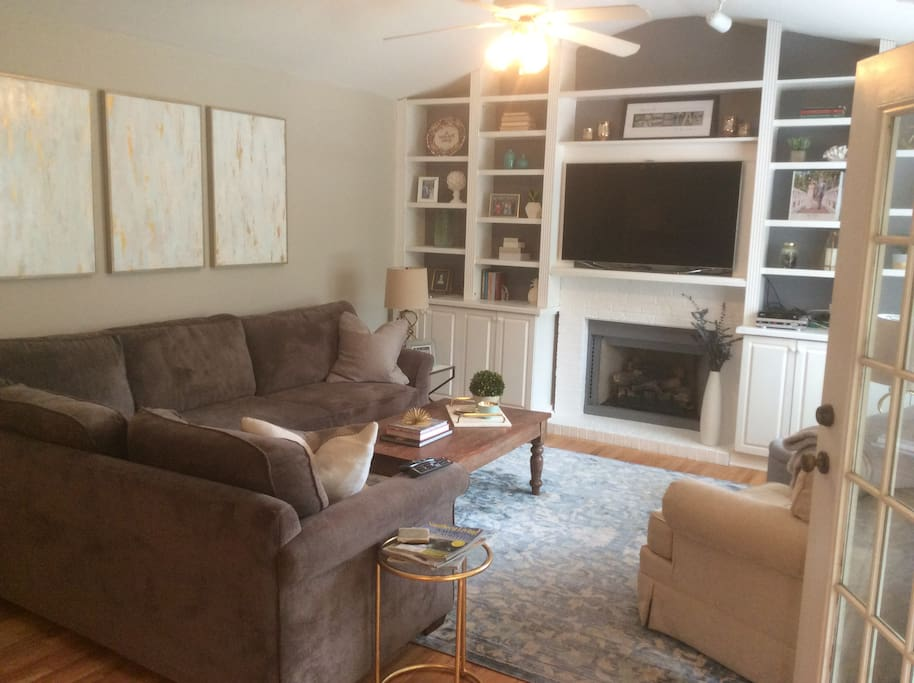 Large living room with lots of seating
