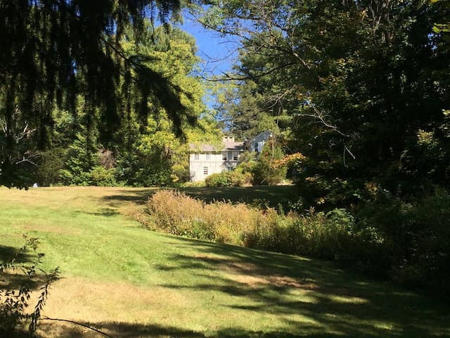 The property is on 7 acres with a charming brook that runs through it.  I t has frontage on Route 6 (Cutler St.) and Merriam Lane.