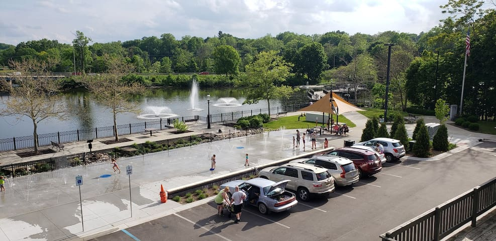 View of Splash pad and walkway to Kayaking Launch