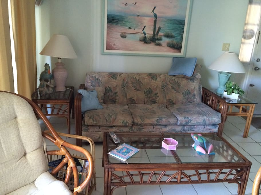 Living room / fold out queen sofa