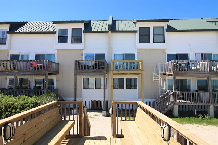 110-B Tybee Lights has beach access from the back patio, using spiral staircase