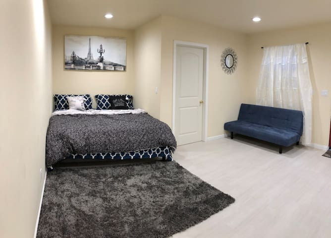 Huge newly remodeled private bedroom with entranc