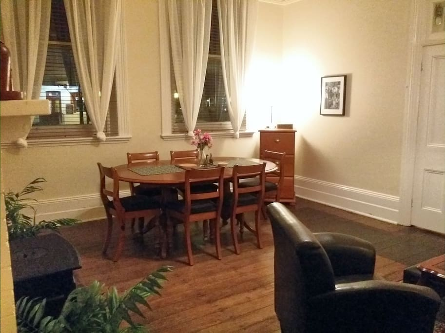 Downstairs: one of the intimate dining spaces