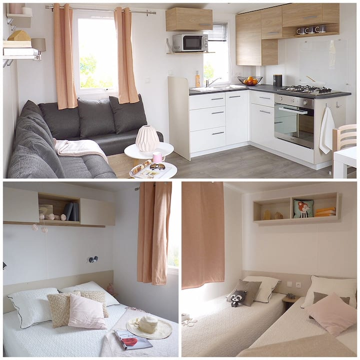 Mobil-home 28m², 4/6 pers, 2 ch, camping 4*