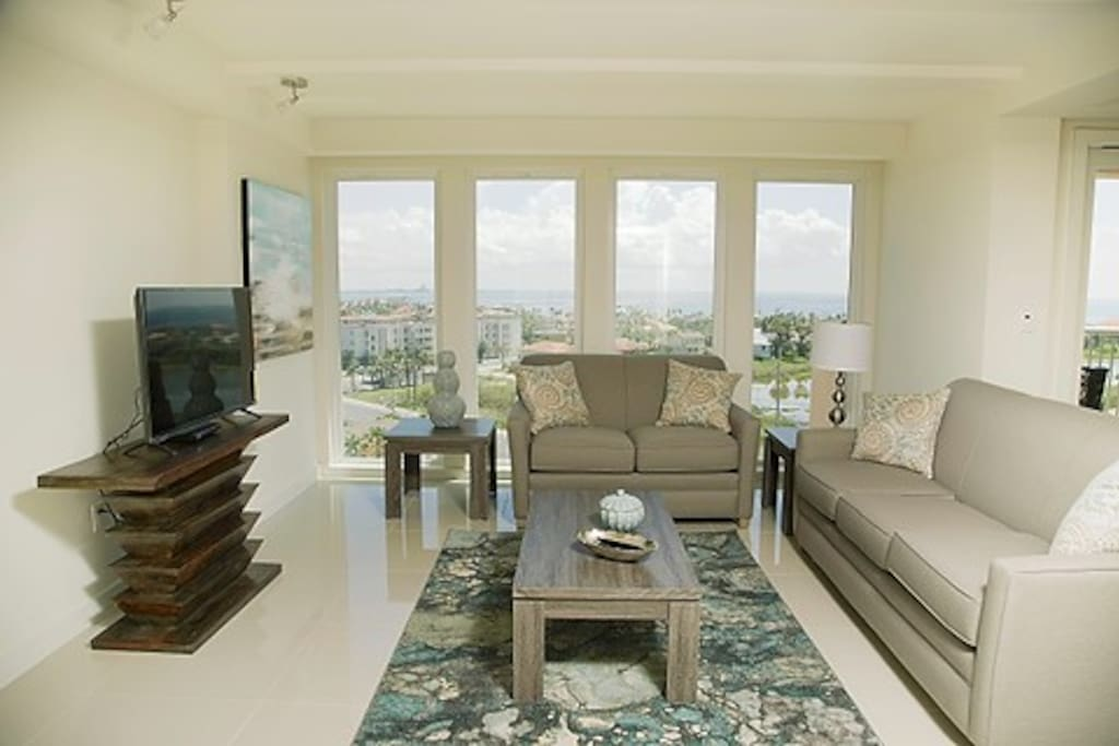 Enjoy the lovely sunsets each evening from this spacious living room.