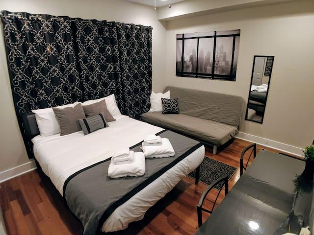 Full size mirror and futon sofa