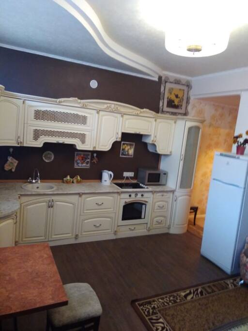 Kitchen with appliance/ dishes/ silverware etc