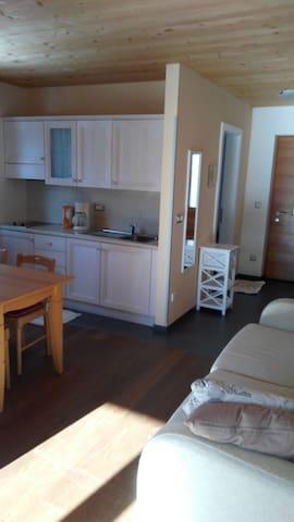 Die kleine, aber sehr funktionelle Küche mit der Grundausstattung, 2 Elektro-Ceranfelder, ein Kühlschrank mit Gefrierfach, Besteck, Gläser und Geschirr, sowie Kochutensilien sind vorhanden...