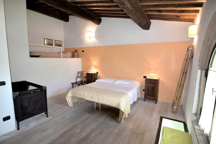 The triple bedroom. Bed on the mezzanine is ideal for a children 8 - 10 years old