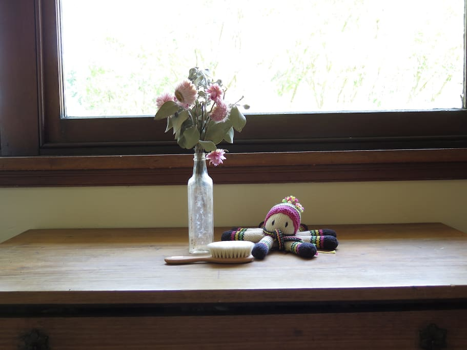 Paper daisies and an antique bottle from a friend's farm in Lake Cargelligo