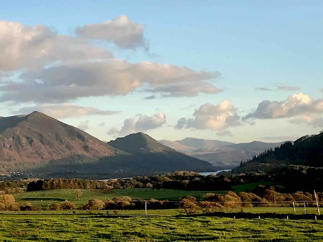 Amazing views of Bass Lake and Skiddaw from the lodge.