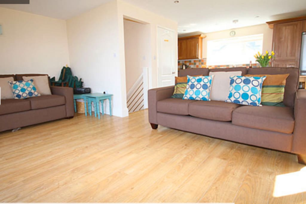 Open plan lounge, kitchen, diner- patio doors onto balcony with glorious views