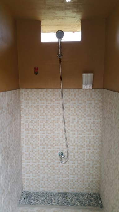 Shower complete with soap and shampoo