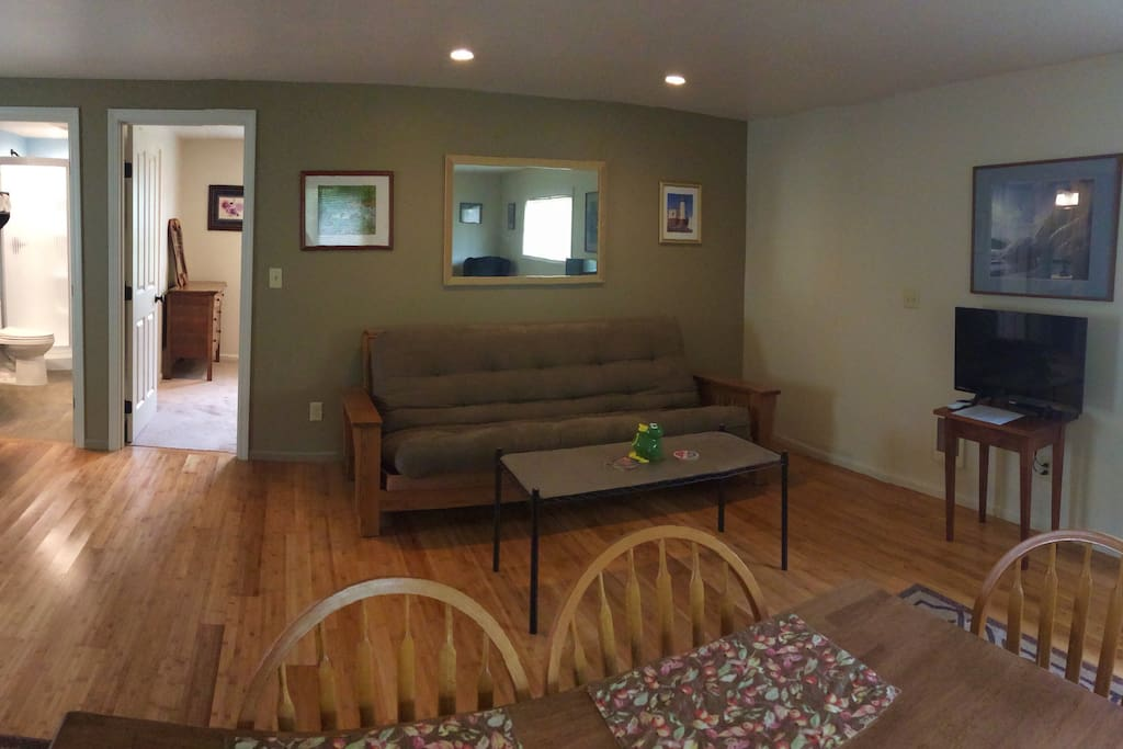 Open living space with queen size futon, DirecTV, and WiFi