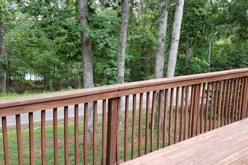 View from 600 square foot deck, clear path to a private cove on Lake Hartwell