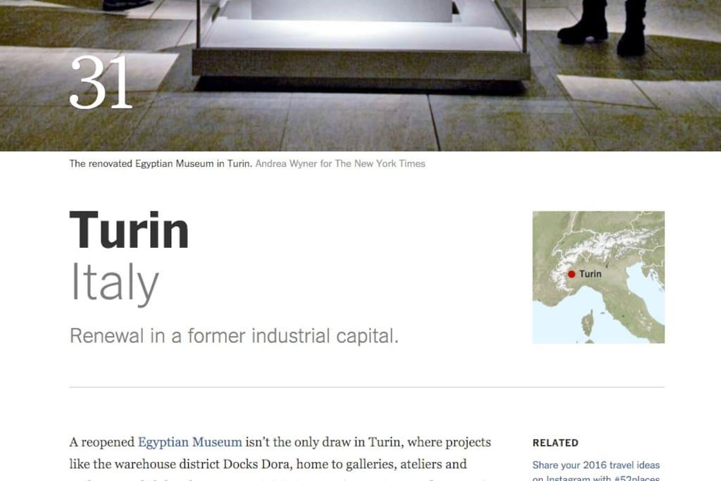 Secondo il New York Times, Torino è uno dei posti da vedere nel 2016... http://nyti.ms/1ZRPfOi