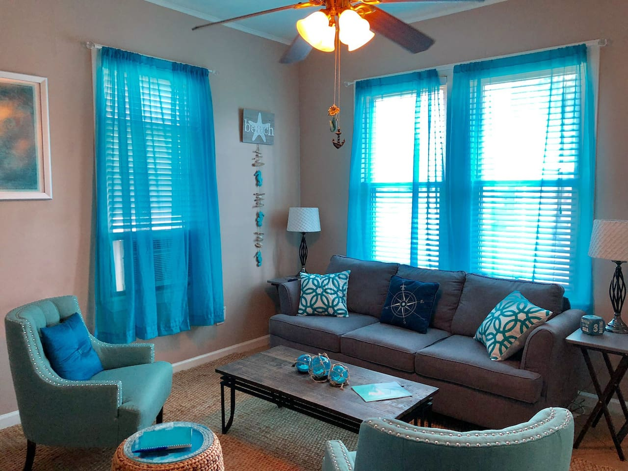 Soothing blue living room to relax in