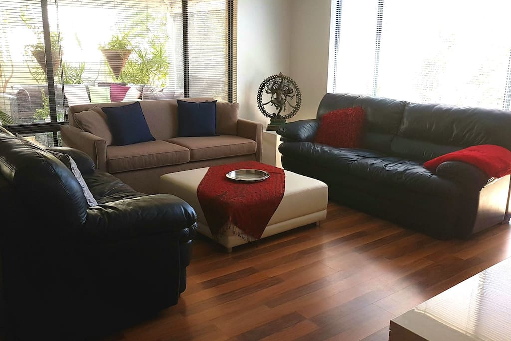 Relax in 3 Seater and 2 seater Leather Lounges and Fabric Sofa Bed..:))