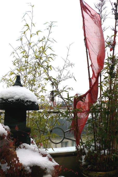 Even in winter you can enjoy the zen garden from your bedroom.