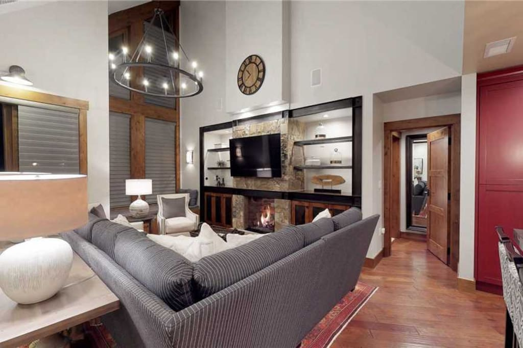 Living Room with Fireplace and Flat Screen TV