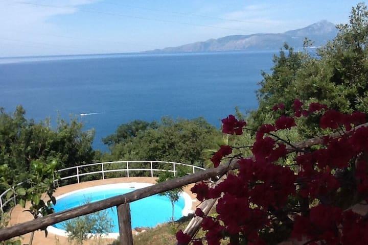 Petite maison, au calme, piscine et vue sur la mer