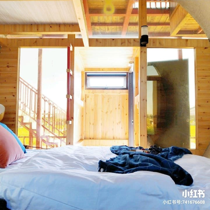 <管居民宿>--盘锦旅游,大洼田庄台,红海滩,湿地,北欧风情,网红小红书。免费采摘。