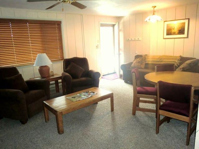 Living room, dining area, front door facing east.