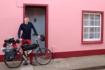 Brent just about to cycle into the sunset after a stay at Shandon