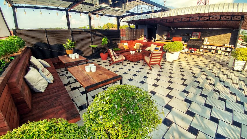 Our rooftop garden upstairs has everything you need if you want to chill out for a bit.