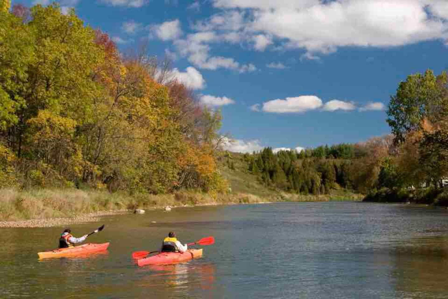 Kayak and canoe the Saugeen River by booking in at Thorncrest Outfitters, they have kayaks for rent and shuttle you to the launch points.  Image courtesy of Explore The Bruce.
