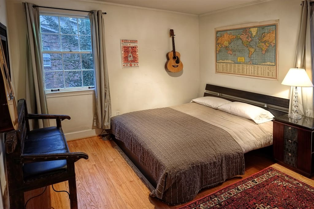Comfortable queen bed. Grab any guitar and strum away - they're all tuned up!