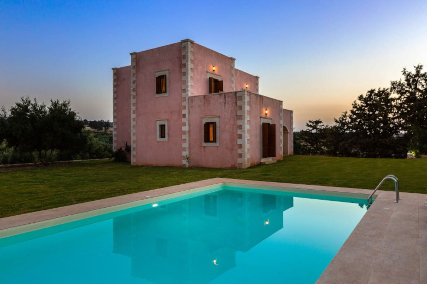 The villa combines the traditional Cretan architecture with Turkish-Venetian style...