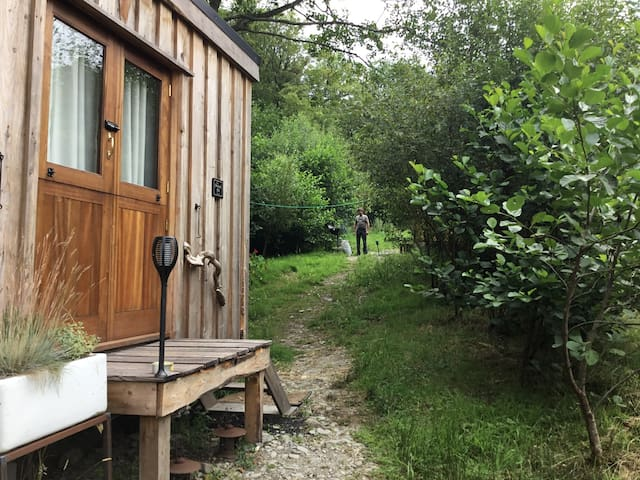 Secluded hand-built woodland hut and private deck