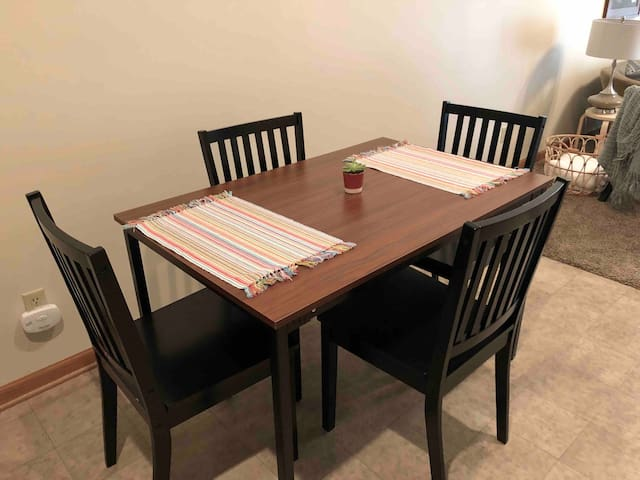 Dining table seats 4.