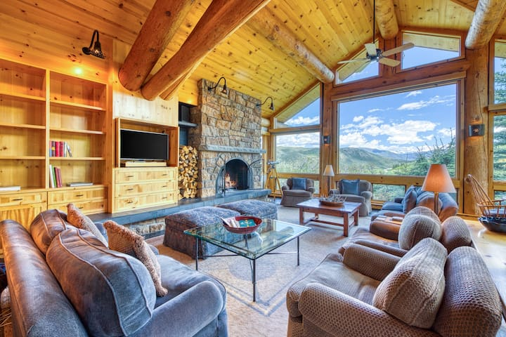 Dog-friendly home w/ mountain views, fireplaces, hot tub, & fitness room