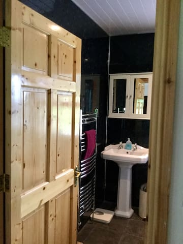 Ensuite with wash hand basin, towel radiator, vanity cabinet, toilet, and shower.