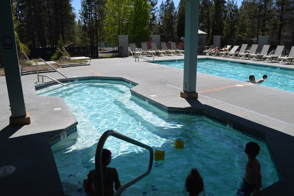 Saltwater pool and spa with kids and adult hours.
