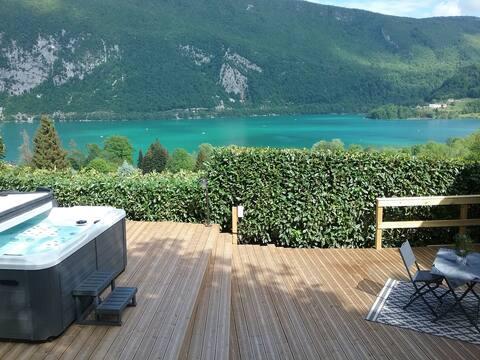 Maison + piscine + spa + sauna + vue sur le lac