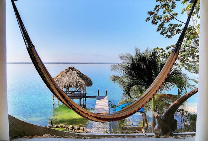 ★Lakefront Private Beach★ 50min to Flores+Tikal ★