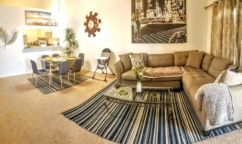 Spacious living room and dining room area