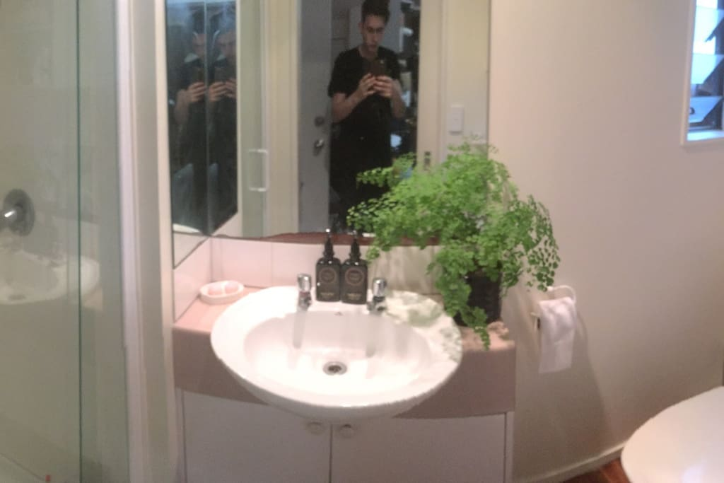 Bathroom is downstairs and is small but adequate