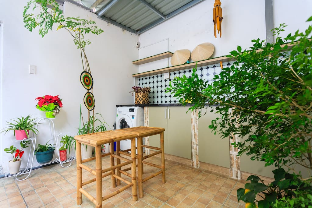 The kitchen where you can cook, have a drink, and enjoy the fresh air at the same time