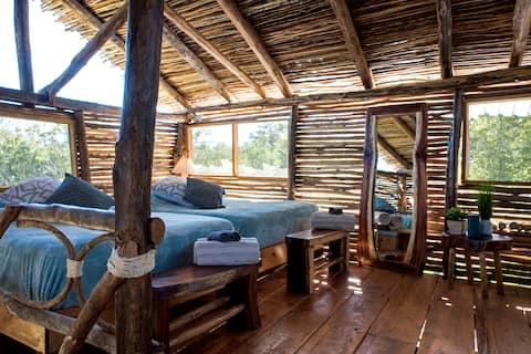 STUNNING Big Cabaña INSIDE Mayan Animal Sanctuary!