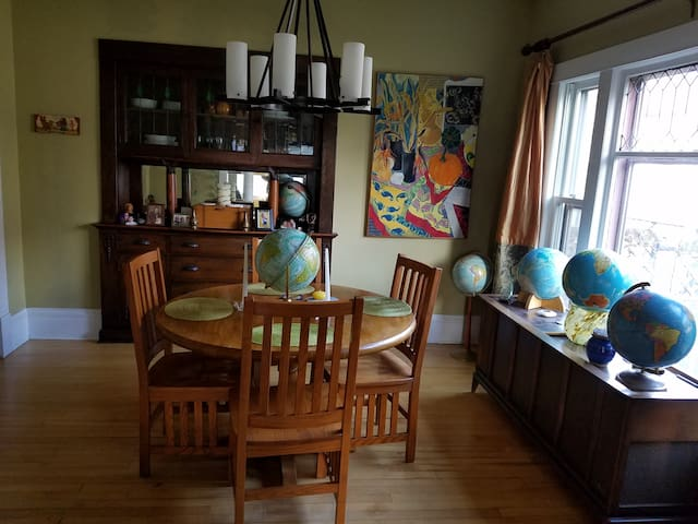 I have a small collection of globes in the dining room