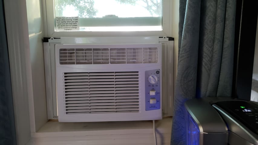 Window a/c to help you stay cool in the summer.  This unit is in addition to the central a/c of the house.