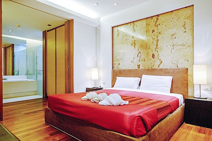 Stylish master bedroom 1 with marble finishings and ensuite bathroom